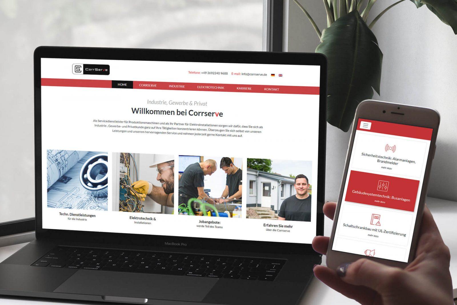 Webseite für Industrie Gewerbe